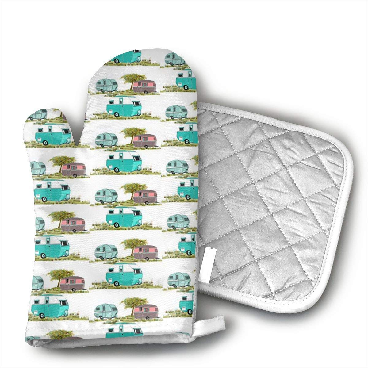 Insulation Lets Go Camping Retro Travel Trailers Oven Mitts,Professional Heat Resistant Microwave BBQ Oven Insulation Thickening Cotton Gloves Baking Pot Mitts Soft Inner Lining Kitchen Cooking