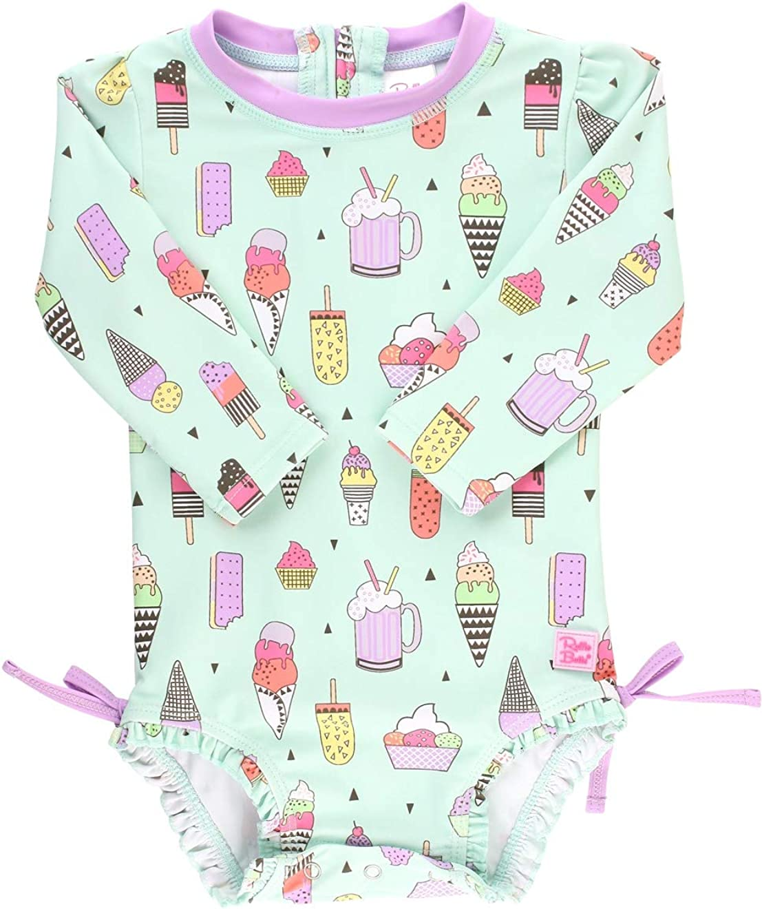 RuffleButts Baby//Toddler Girls Long Sleeve One Piece Swimsuit Sun Protection Pink Polka Dot with UPF 50 3-6m