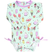 RuffleButts Baby/Toddler Girls Long Sleeve One Piece Swimsuit UPF 50+ Sun Protection