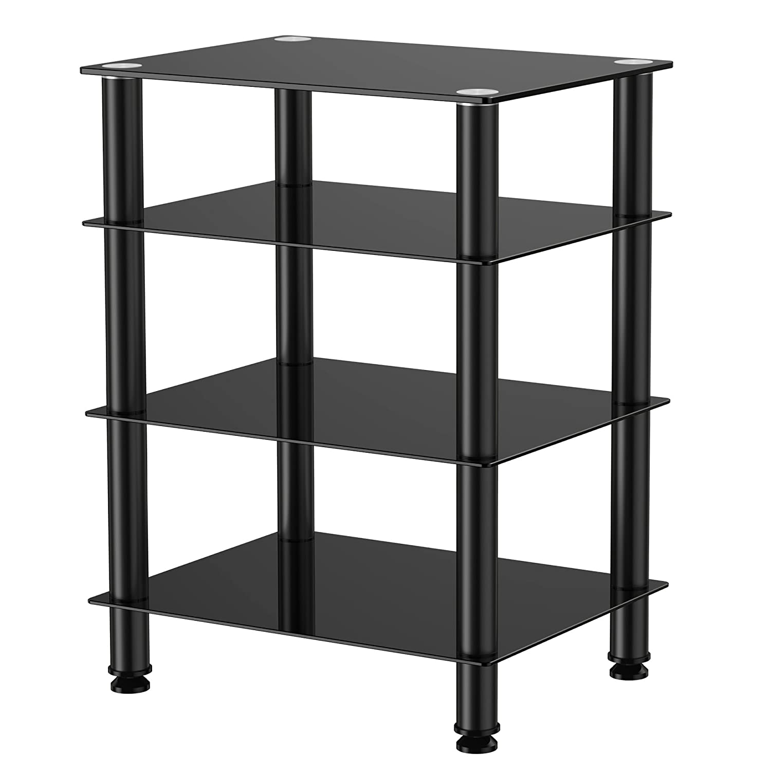 Fitueyes 4-tier Media Stand Audio Video Component Cabinet with Glass Shelf for Apple Tv xbox One ps4 AS406001GB