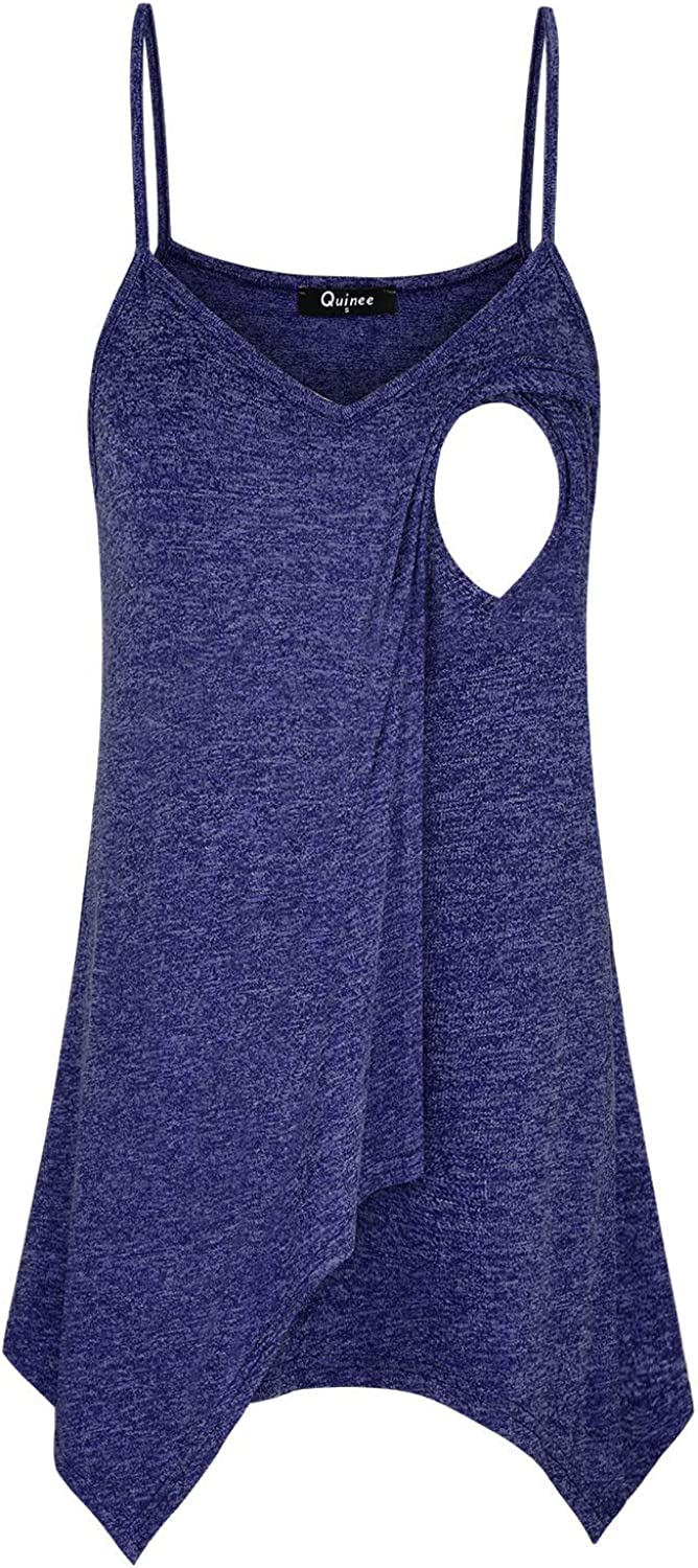 Quinee Women's Maternity Camisole Layered Nursing Tank Tops for Breastfeeding at  Women's Clothing store