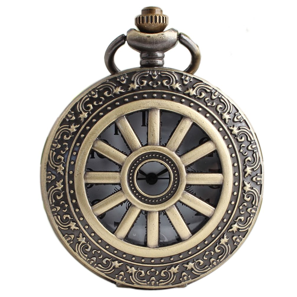 VIGOROSO Wheel Style Vintage Retro Steampunk Bronze Pocket Watch Necklace Pandant Men Lady Gift