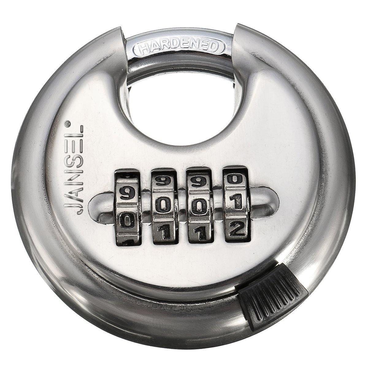 "JANSEL Disc Combination Padlock, Pack of 12, 70mm or 2-3/4""Stainless Steel Round Discus Combination Padlock 4 Dials with Shielded Shackle Hardened Steel Shackle weatherproof combination padlock"