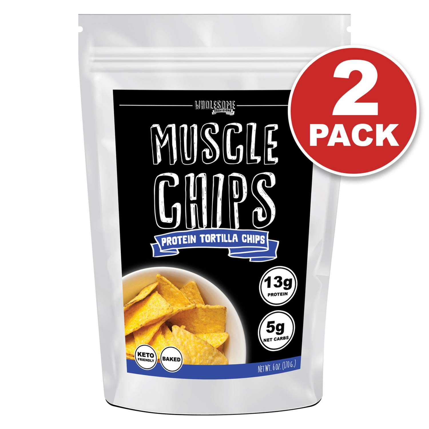 Protein Chips, 13g Protein, 5g Net Carbs, Keto Snacks, Low Carb Snacks, Protein Tortilla Chips, Muscle Chips, Baked Not Fried (2 Pack) by Wholesome Provisions