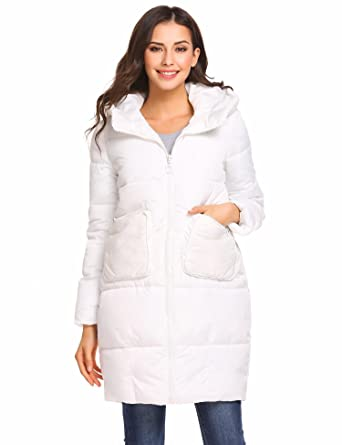 078568d33246 Zeagoo Womens Winter Long Padded Coat Long Sleeve Warm Thicken Quilted  Cotton Puffer Jacket White: Amazon.co.uk: Clothing