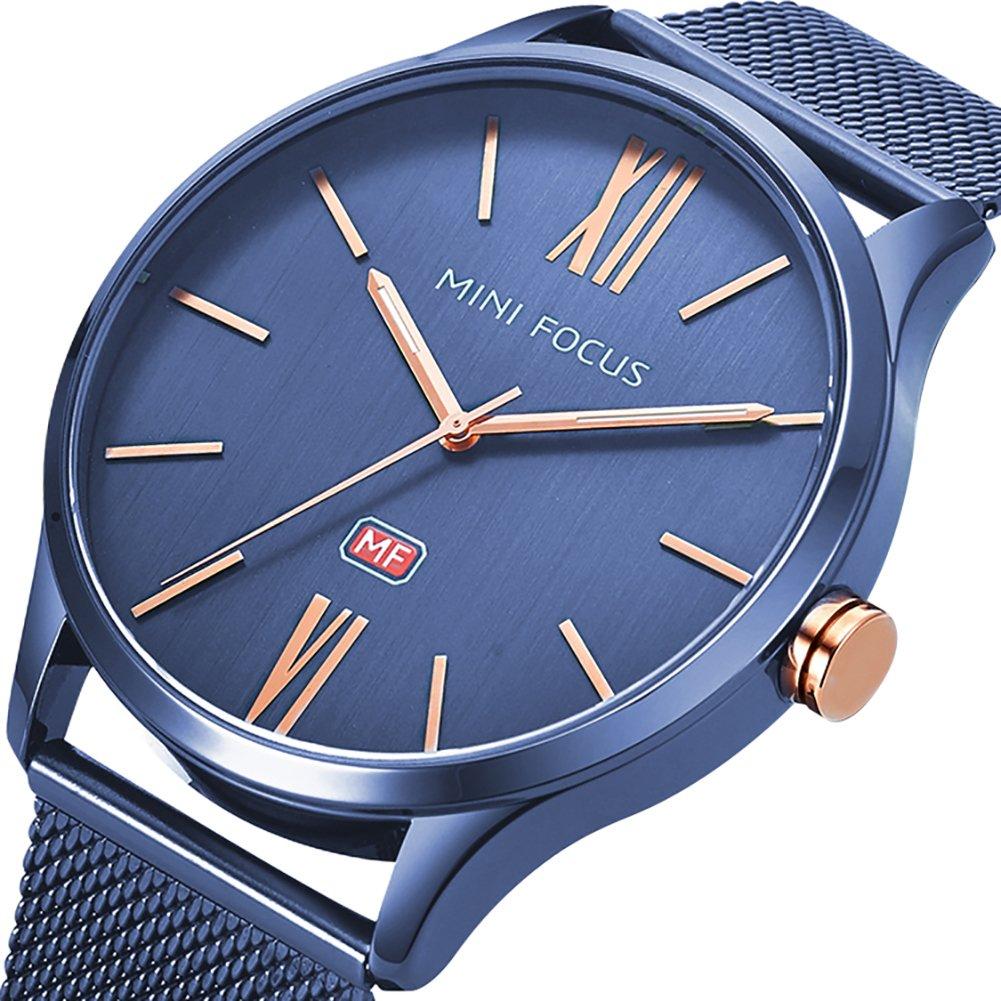 Men's Business Watch, MF Mini Focus Waterproof Slim Mesh Band Big Dial Analog Quartz Wristwatch with Luminous Hands(Blue)