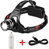 1800LM Rechargeable Headlamp CREE LED, Zoomable Headlamp Flashlight, T6 Head Lights LED for Camping, black (18650/3 AAA Batteries Powered - Not included)