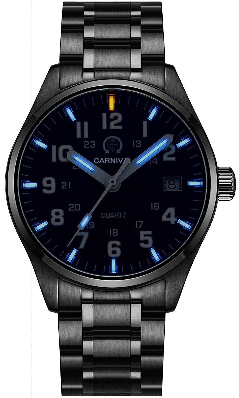 Gosasa Men's Blue Luminous Tritium Watch Waterproof Sapphire Glass Black Stainless Steel Quartz Military Watches