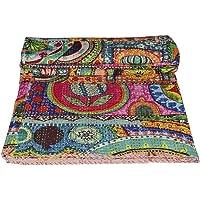 Jaipur Textile Hub Indian Antique Vintage Kantha Handmade Floral Print GUDARI Bedspread Cotton Quilt JTH-NKT-18Z