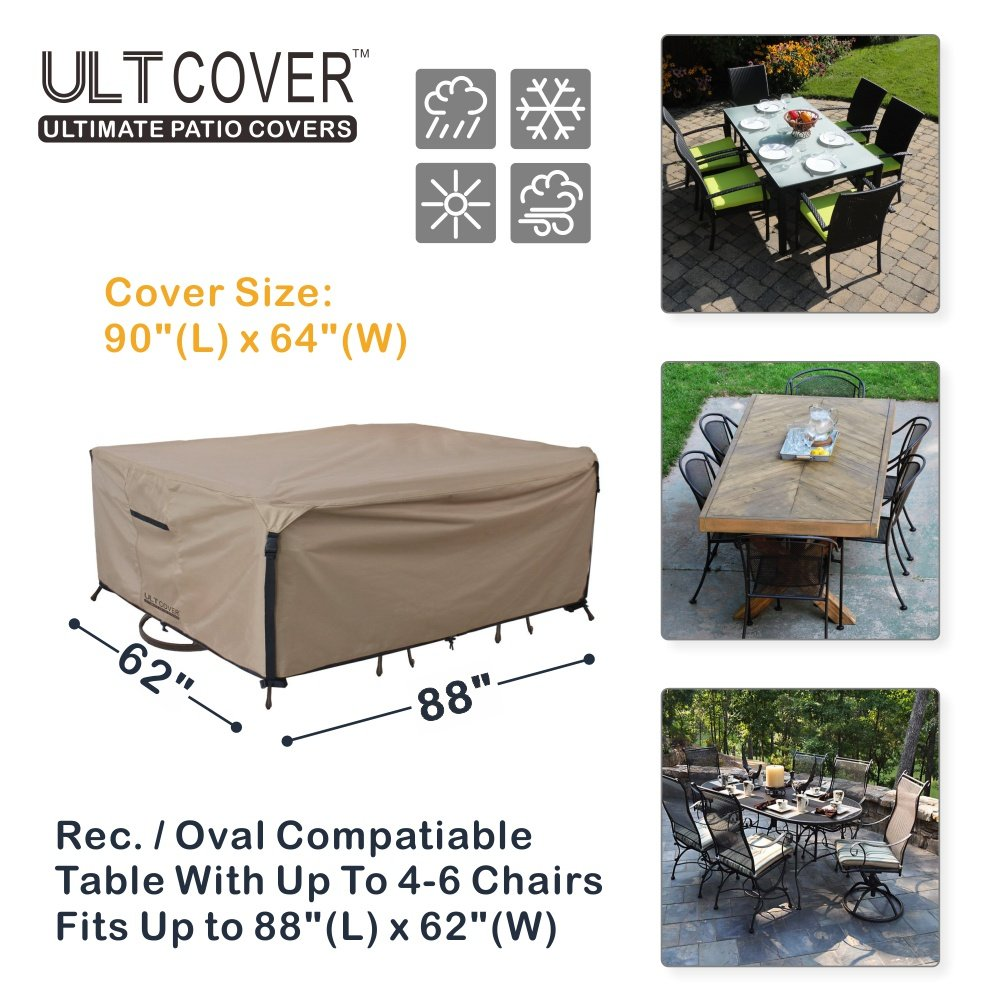 Rectangular/Oval Patio Heavy Duty Table Cover 600D Tough Canvas 100% Waterproof & UV-resistant Outdoor Dining Table Chair Set Cover Size 88L x 62W x 28H inch by ULT Cover (Image #2)