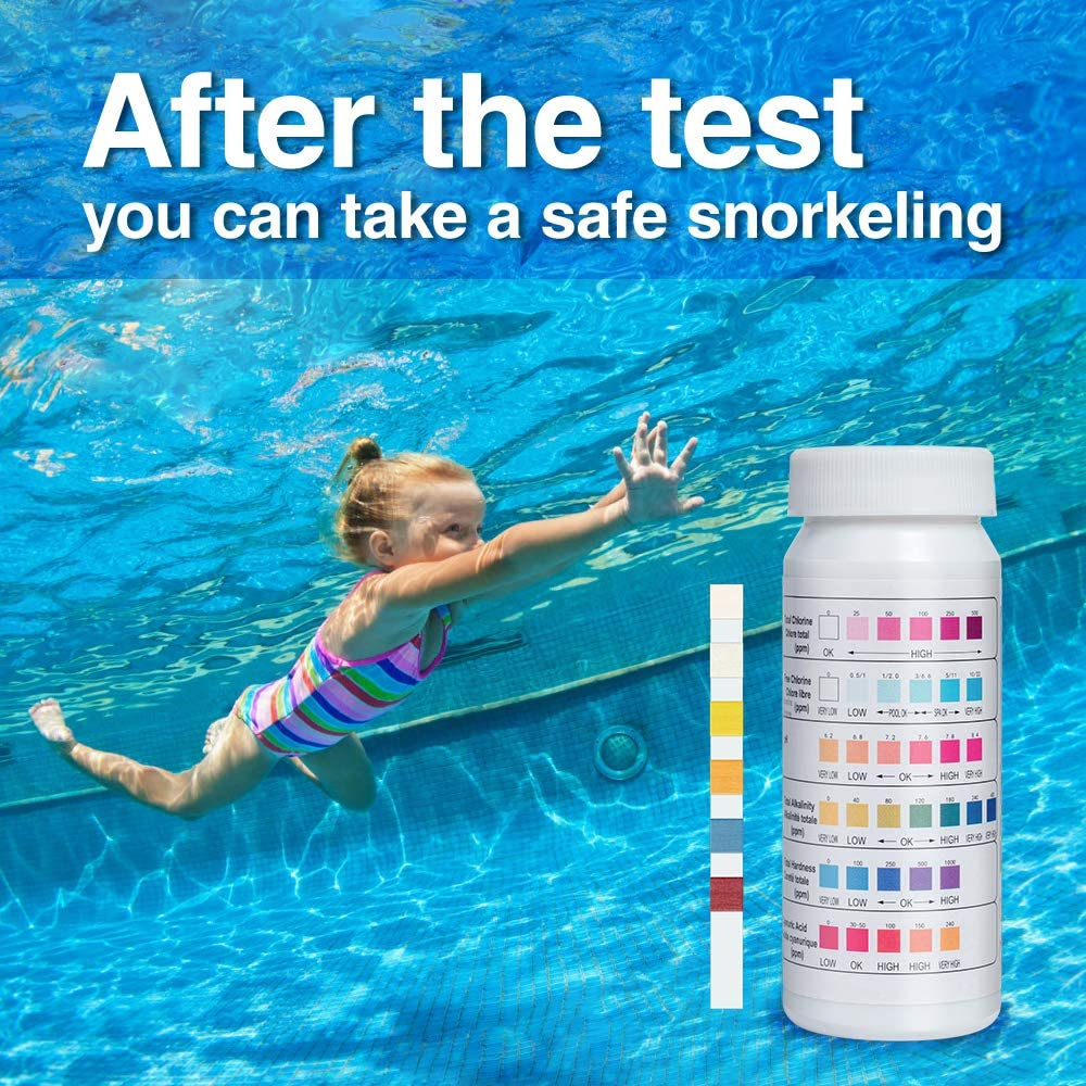 .PH,Total Chlorine,Free Chlorine//Bromine,Total Alkalinity,Cyanuric Acid,Total Hardness Testing 2 Pack Pool and Spa Test Strips for Hot Tubs,6-Way Swimming Pool/&Spa Water Chemistry Test Strip 100 Count