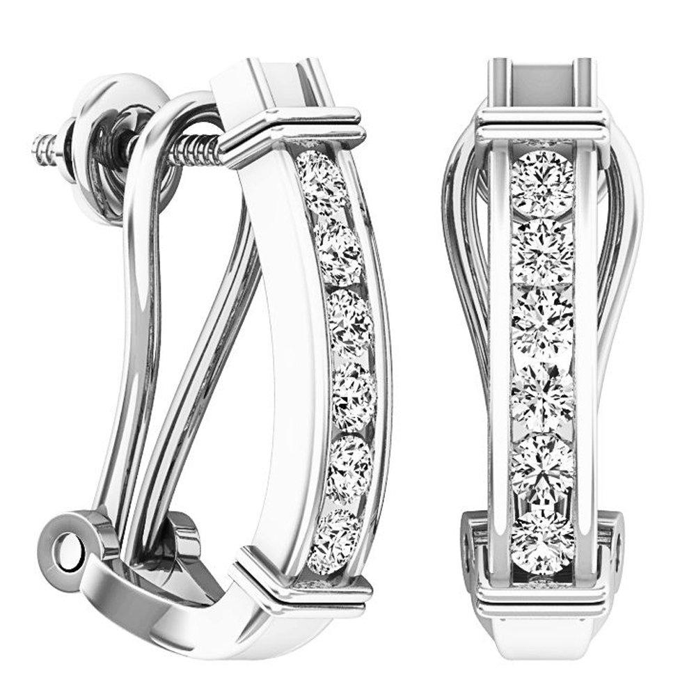 0.50 Carat (ctw) 10K White Gold Round Cut White Diamond Ladies Fashion Huggies Hoop Earrings 1/2 CT