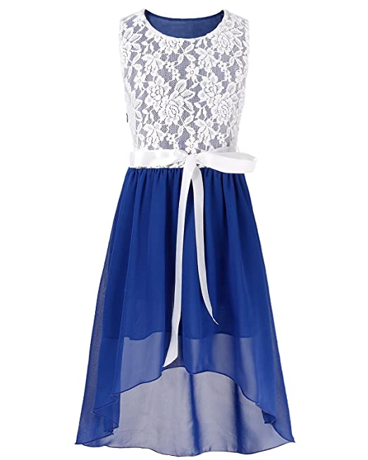iiniim Vestidos Verano Encaje de Flores sin Mangas Vestido Elegante se Niñas Infantil para Boda Fiesta