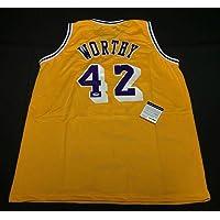 $212 » James Worthy Signed Jersey - *HOF 2003 5A96396 - PSA/DNA Certified - Autographed NBA Jerseys