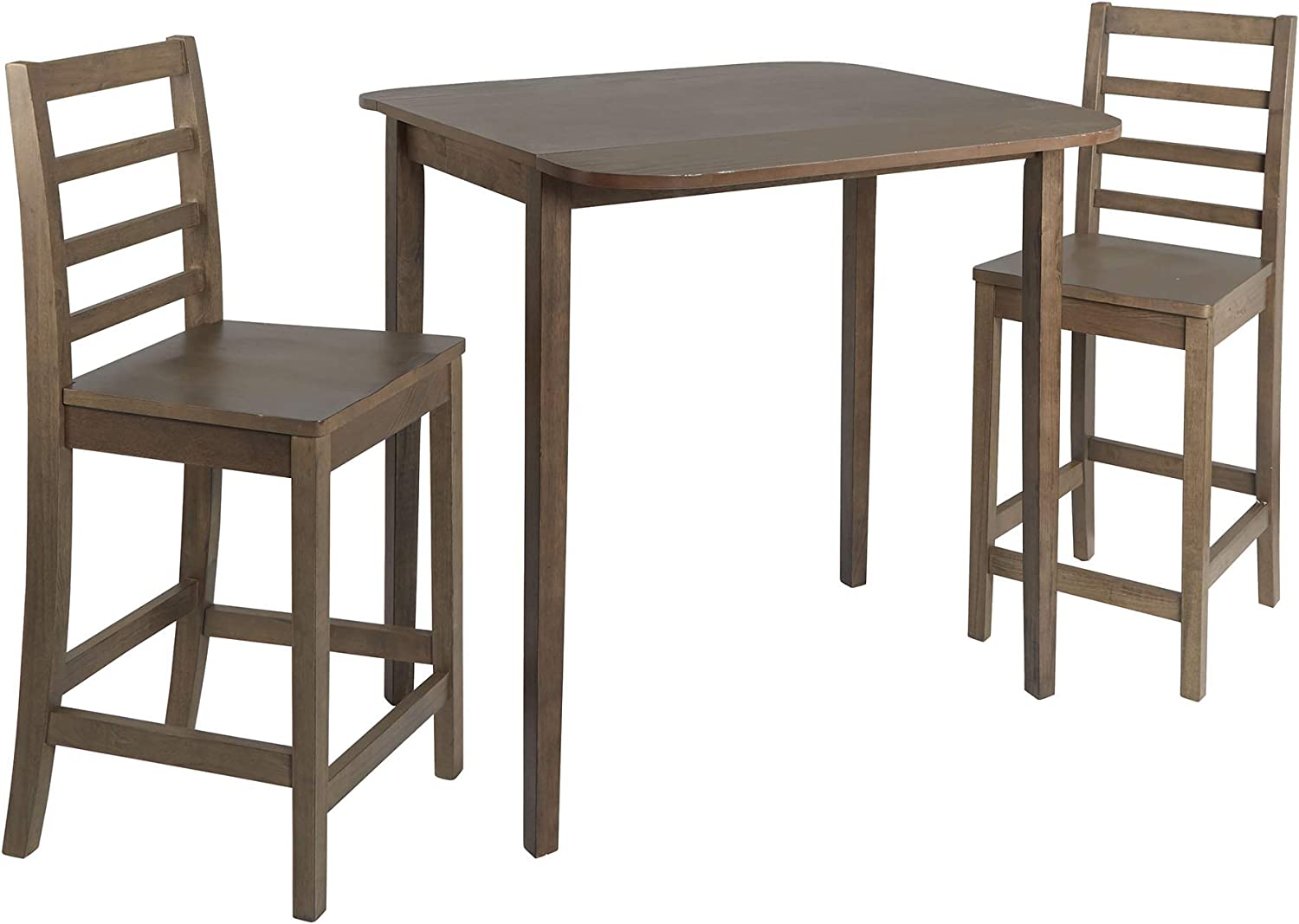 SunBear Furniture Dining Kitchen Set of 3 Square Table and 2 Classic Wood Chairs Warm in Dark Walnut