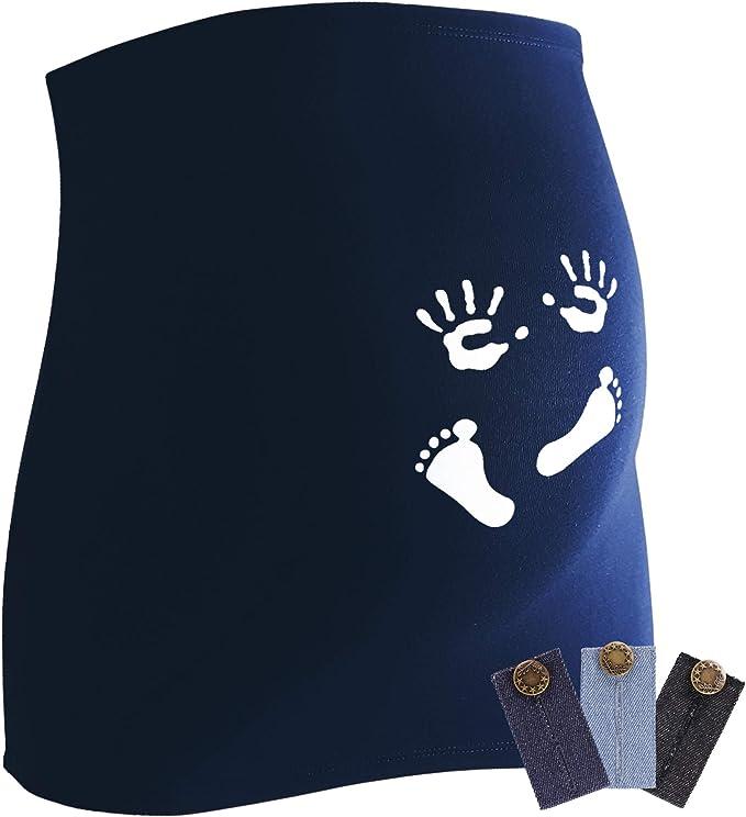 Elastische Umstandsmode R/ückenw/ärmer und Shirtverl/ängerung f/ür Schwangere Mamaband Schwangerschaft Bauchband f/ür die Babykugel mit s/ü/ßem Aufdruck 3erPack Jeanserweiterung