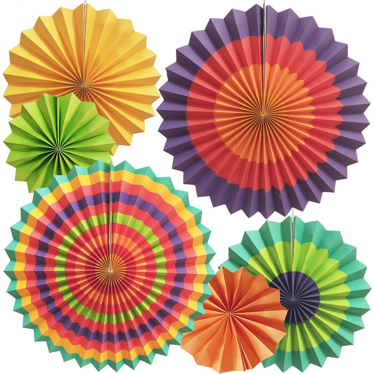 6 Pack Party Hanging Paper Fans Set,Round Pattern Paper Garlands Decoration for Birthday Wedding Graduation Events Accessories Purple