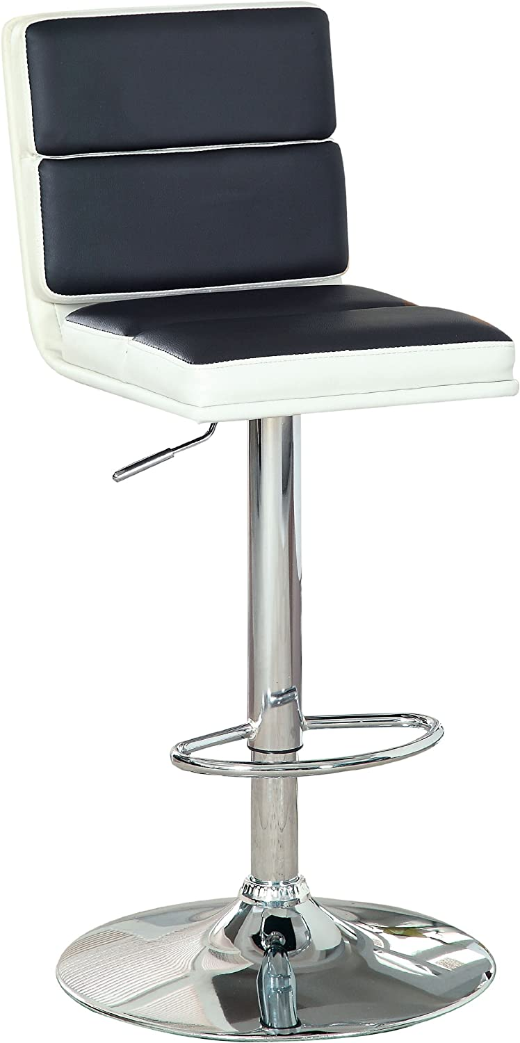 Furniture of America Telesis Modern Sectioned Height Adjustable Bar Stool, Black/White