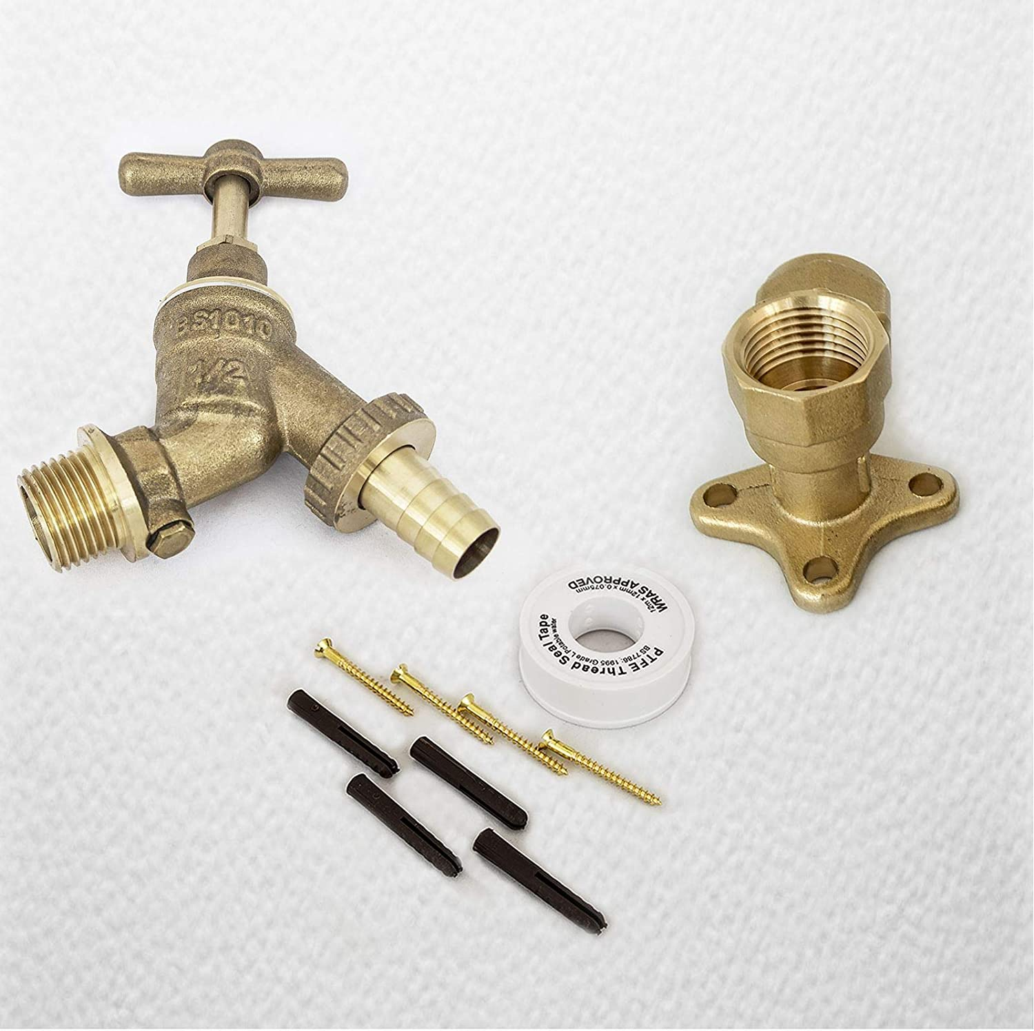 3//4 Inch Outside Tap With Brass 22mm Wall Plate Elbow
