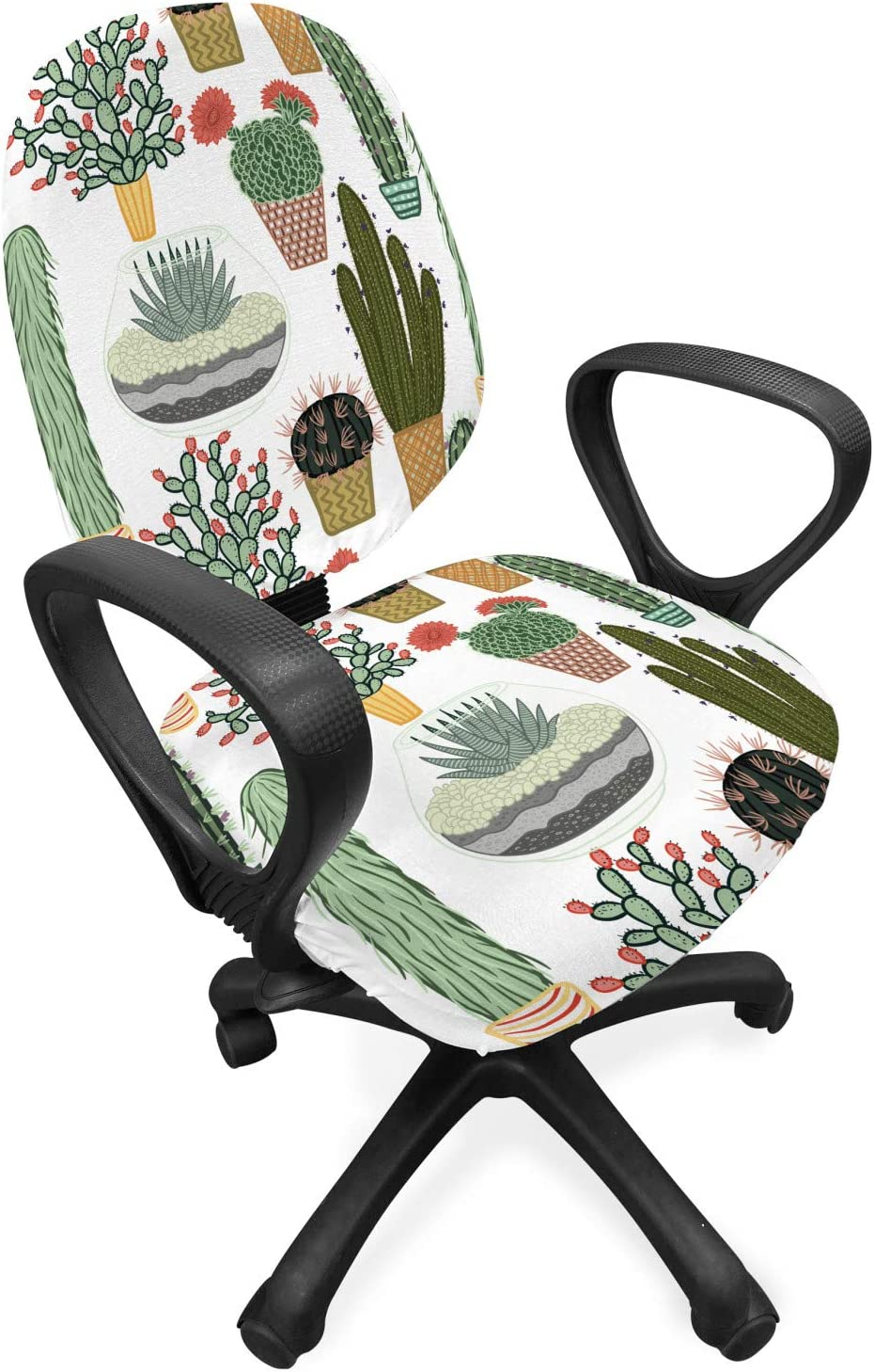 Ambesonne Cactus Office Chair Slipcover, Pattern with Succulent Plants and Cactuses in Pots Botanical Floral Mexican Garden, Protective Stretch Decorative Fabric Cover, Standard Size, Green