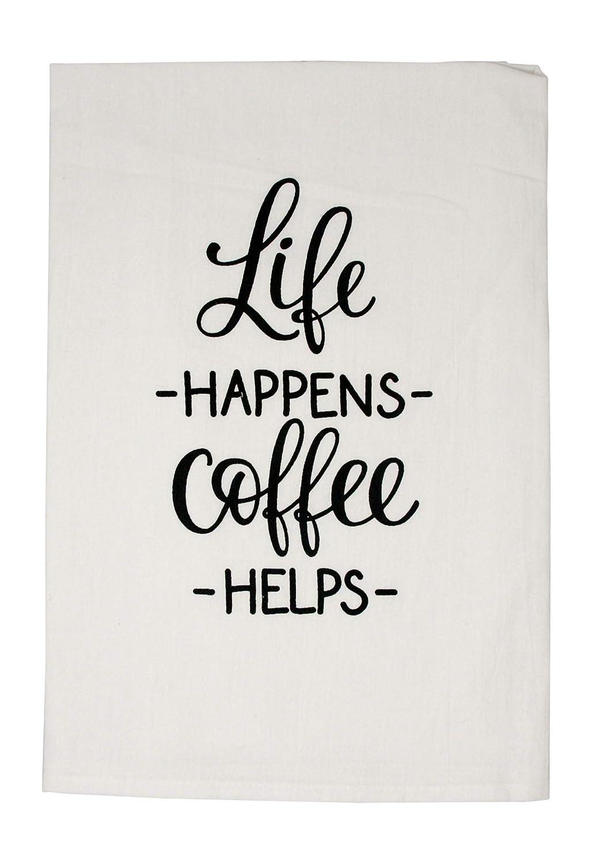 Nino and Baddow Life Happens Coffee Helps Funny Dishcloth Tea Towel Screen Printed Flour Sack Cotton Kitchen Table Linens