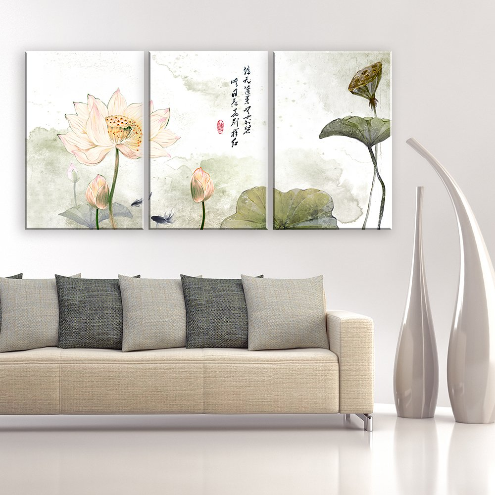 """wall26 - 3 Panel Canvas Wall Art - Chinese Ink and Wash Painting Style Lotus Flowers - Giclee Print Gallery Wrap Modern Home Decor Ready to Hang - 24""""x36"""" x 3 Panels"""
