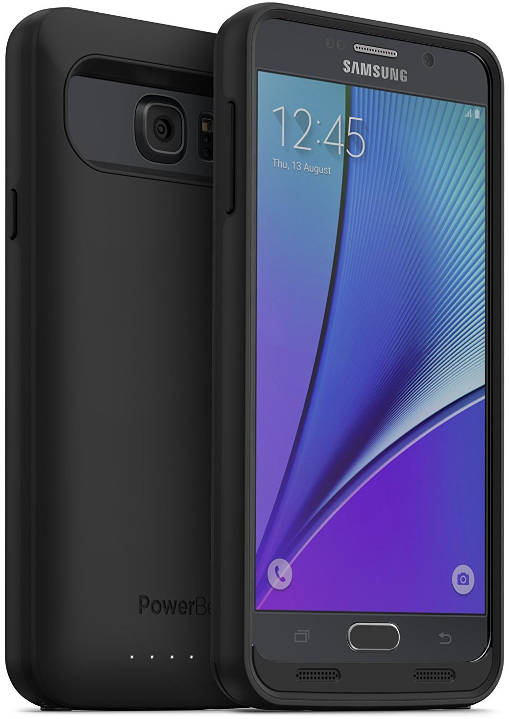 PowerBear Note 5 Battery Case [5000 mAh] High Capacity External Battery Charger for Samsung Galaxy Note 5 (Up to 165% Extra Battery) - BLACK [24 Month Warranty & Screen Protector Included]