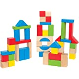 Maple Wood Kids Building Blocks by Hape   Stacking Wooden Block Educational Toy Set for Toddlers, 50 Brightly Colored…