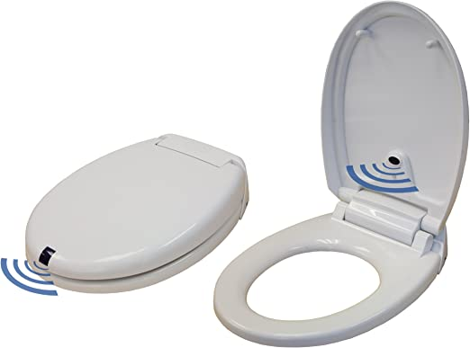Amazon Com Itouchless Touch Free Sensor Controlled Automatic Toilet Seat Round Model Off White Home Kitchen