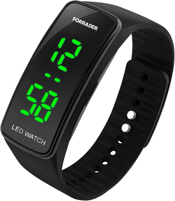 Reloj Forrader de pulsera deportivo unisex, LED, con función de fecha, correa de goma