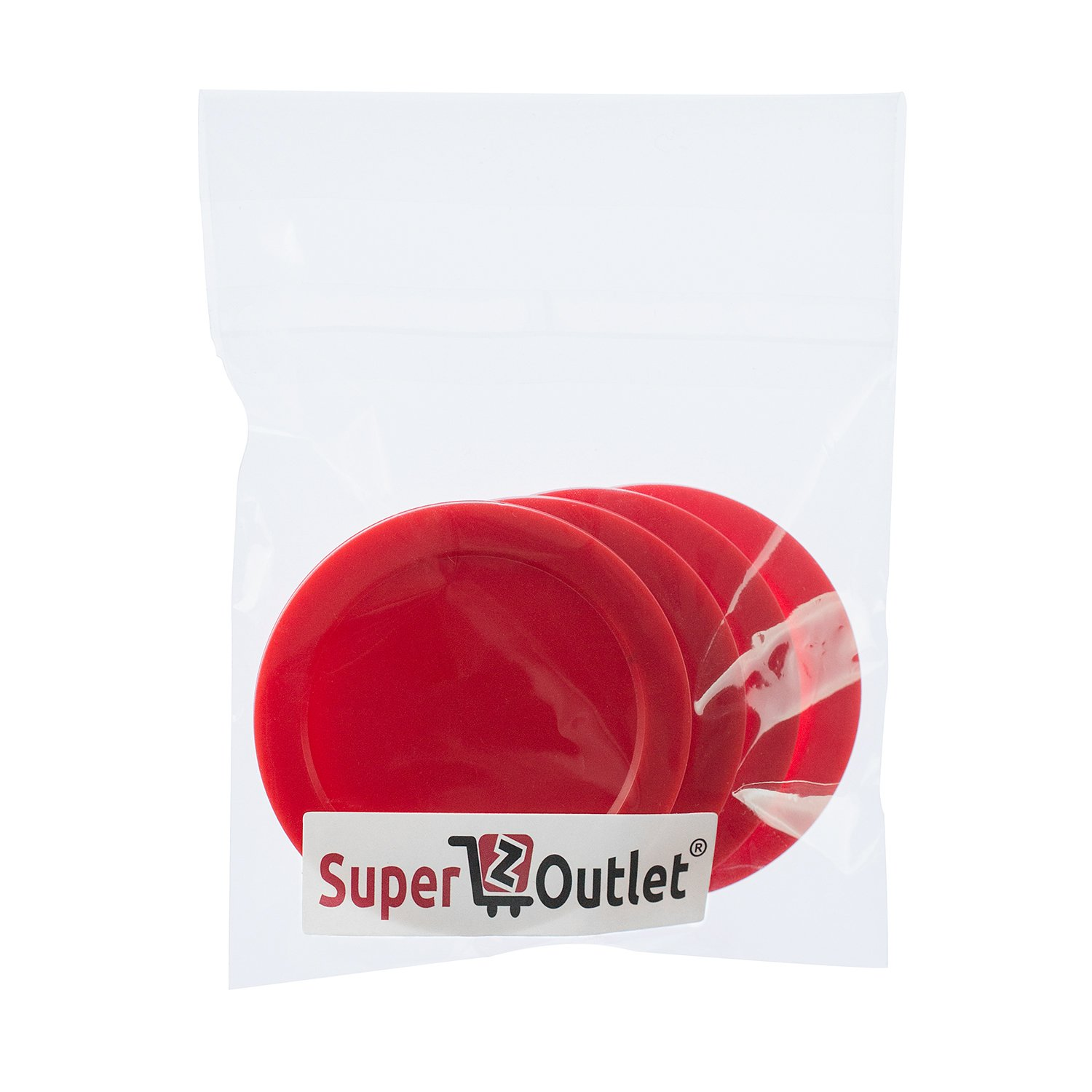 Super Z Outlet Home Air Hockey Red Replacement 2.5'' Pucks for Game Tables, Equipment, Accessories (4 Pack)