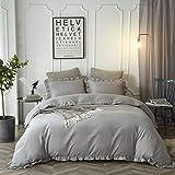HYPREST Ruffled Duvet Cover Set Twin Kids Grey Solid Color Vintage Bedding Set Exquisite Flouncing Quilt Cover with Zipper Cl