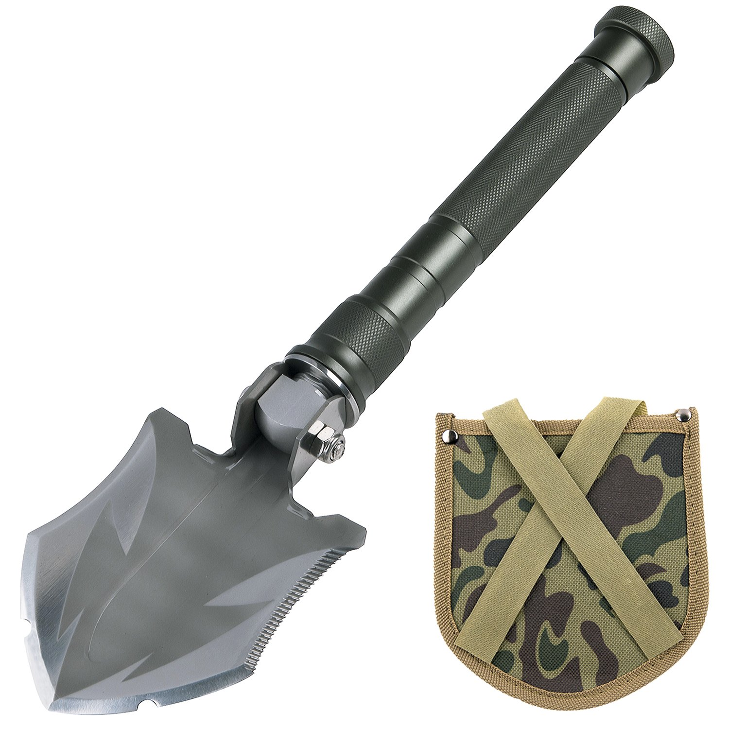 Glossday Military Folding Shovel Multitool,Portable Survival Shovels,Tactical Entrenching Tool,Heavy Duty Emergency Tool, Outdoor Gear Camping Backpacking,Fishing,Hiking (15inch) by Glossday (Image #1)