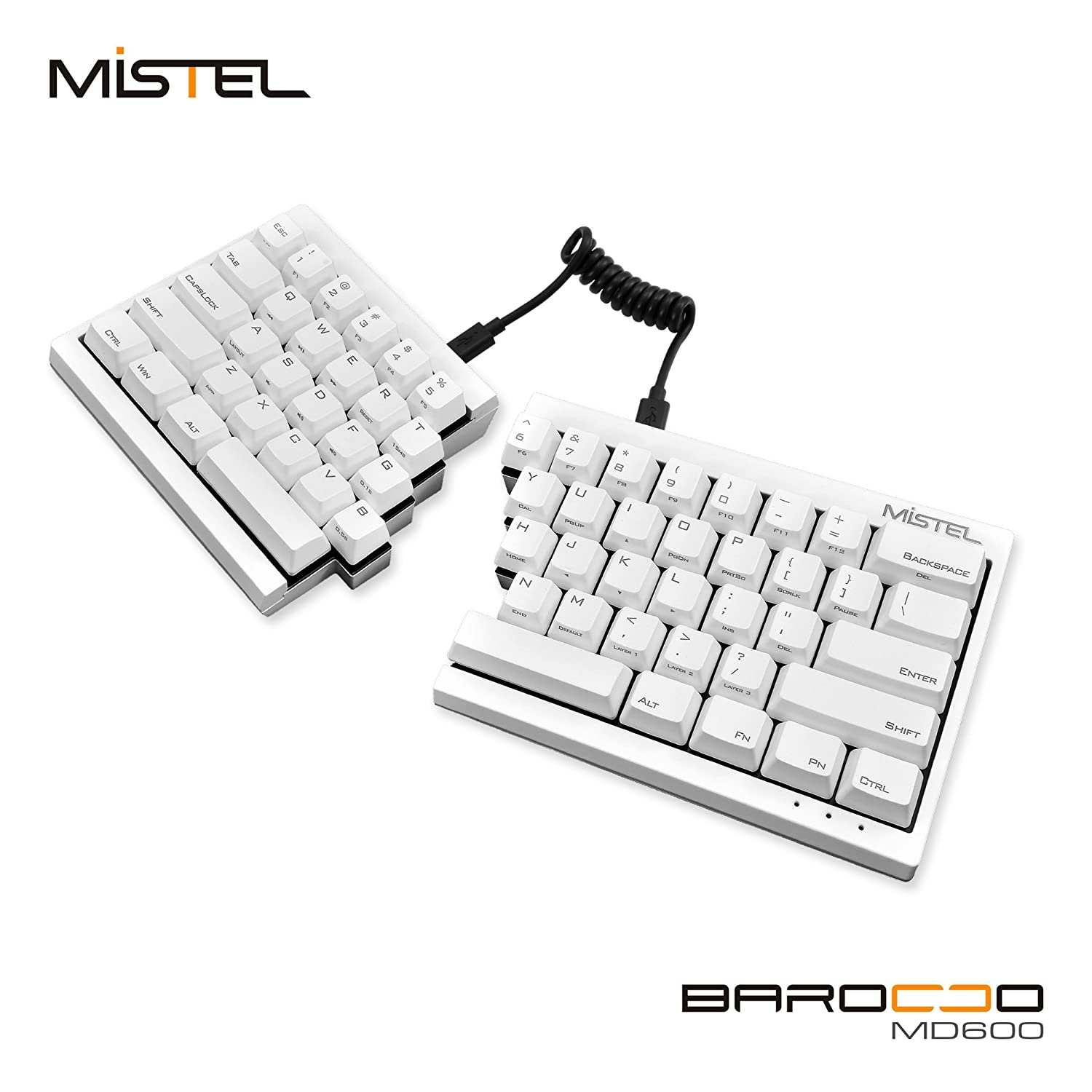 Amazon mechanical keyboard - Amazon Com Mistel Barocco Ergonomic Split Pbt Mechanical Keyboard With Cherry Mx Brown Switches White Computers Accessories
