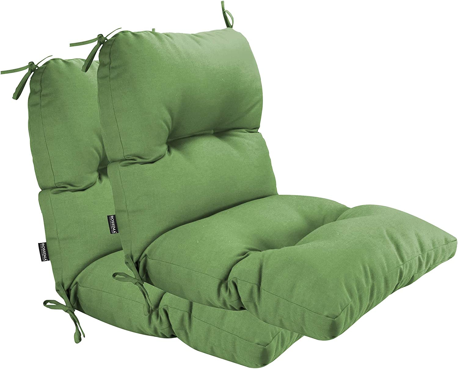 BOSSIMA Outdoor Indoor High Back Chair Tufted Cushions Comfort Replacement Patio Seating Cushions Set of 2 Deep Green