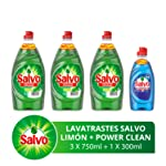 Salvo Lavatrastes Líquido Limón y Botella Power Clean, 2.55 L ( Tres Botellas de 750ml + Una Botella de 300 ml)