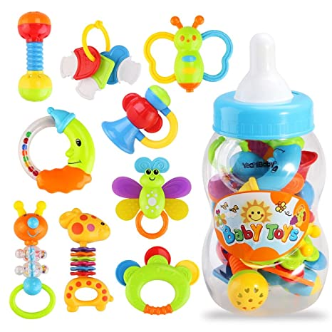 Random Excellent Quality Chick Soft Rubber Hand Bell Hand Grabbing Ball Unique Design Colorful Baby Rattle Instrument Shake Toy For Kids Toys & Hobbies