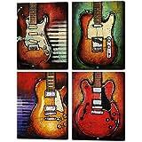 音楽の壁アート抽象的なギターのキャンバスプリントリビングルームのためのアート家のインテリアモダンな静物写真の写真4パネルの大きなポスターHD印刷の絵フレーム