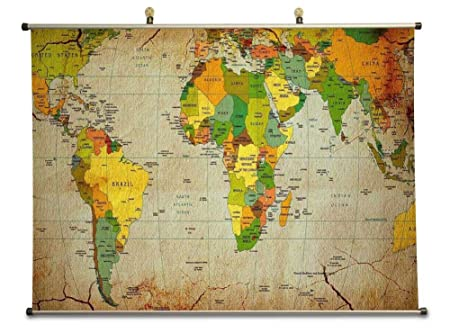 World map canvas wall scroll poster 60x80 cm amazon world map canvas wall scroll poster 60x80 cm gumiabroncs Choice Image