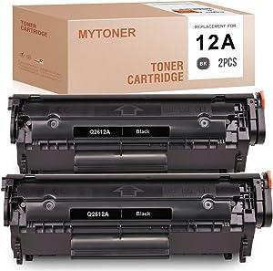 MYTONER Compatible Toner Cartridge Replacement for HP 12A Q2612A for Laserjet 1010 1020 3050 1015 1022 1018 3015 3055 3030 3052 1012 3020 3050z M1319 (Black, 2-Pack)