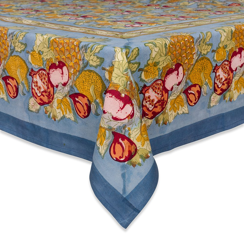 Couleur Nature 59-inches by 86-inches Tutti Frutti Tablecloth, Blue/Red
