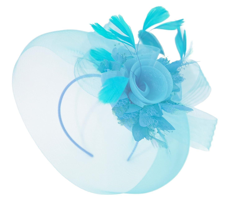 8290433f727e4 Feather Flower Fascinator Hat Veil Net Headband Clip Ascot Derby Races  Wedding (Aqua Blue and Aqua)  Amazon.co.uk  Clothing
