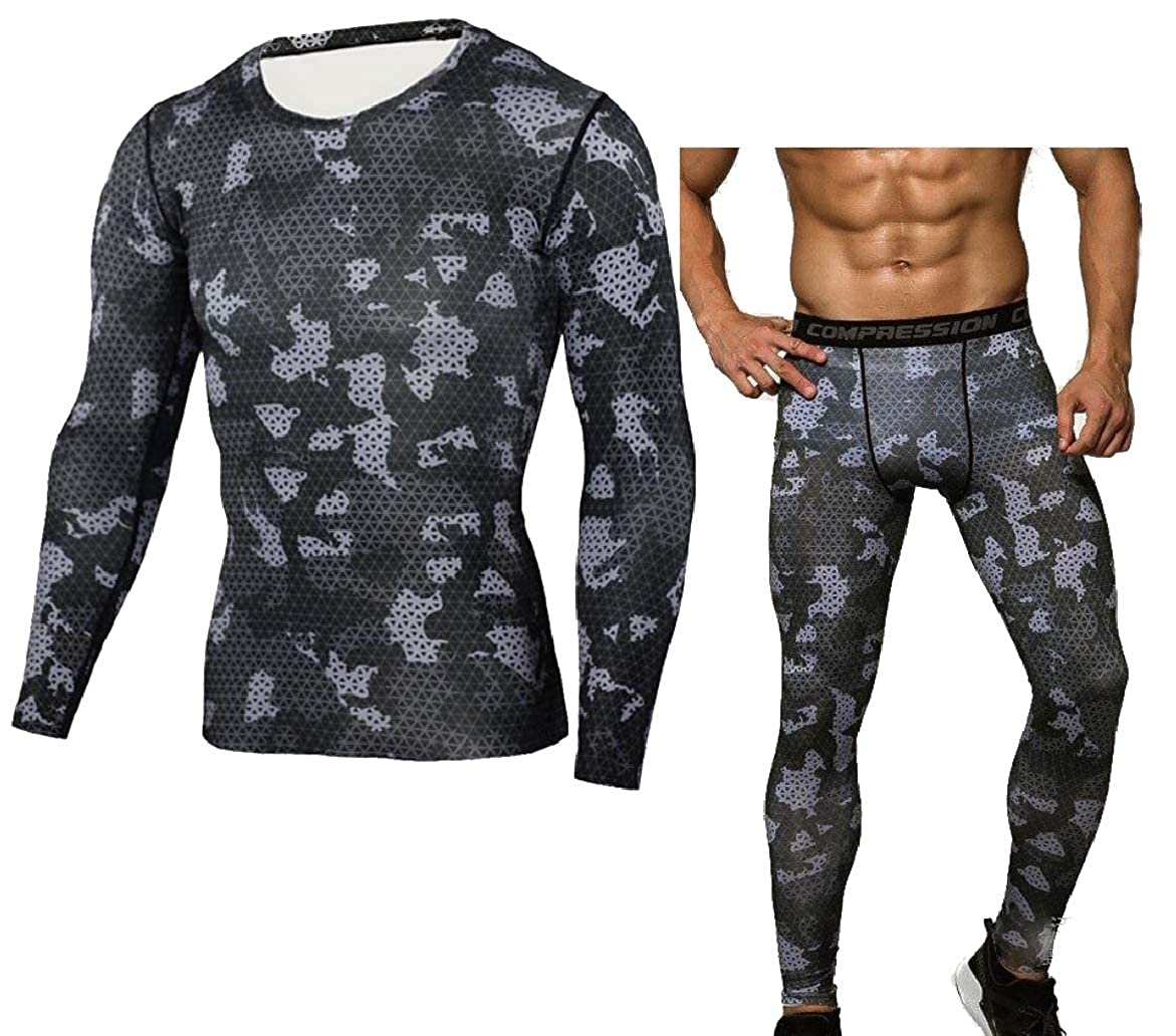 Abetteric Mens Camouflage Color Skinny Fitness Quick Dry Base Layer Underwear