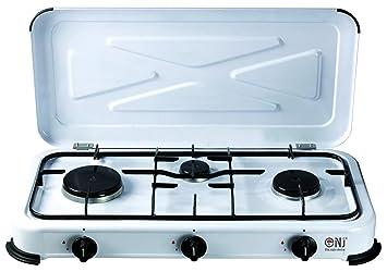 NEW NJ3 - Cocina de gas propano portátil con tapa para exterior (3 fuegos, 3,4 kW): Amazon.es: Deportes y aire libre