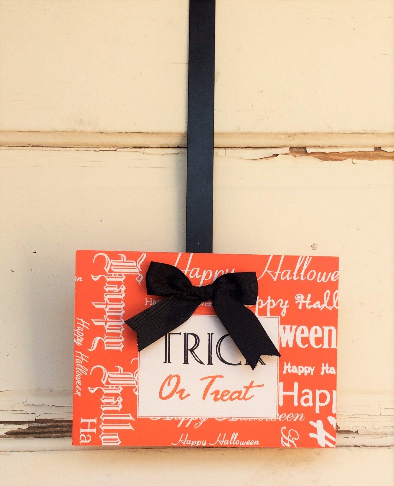 Melrose AG Designs Halloween Decor - Wreath Door Hanger Hook Orange Trick or Treat