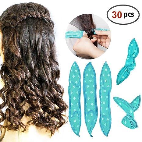 HailiCare 30 Pcs Rizadores de Cabello Flexible Rulos de Esponja Suave Bigudíes de Pelo DIY peinado