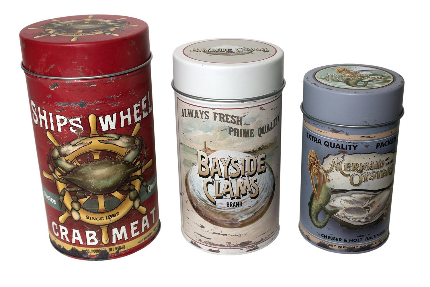 Seafood Advertising Metal Tin Canisters | Vintage Beach Home Kitchen Decor | Air Tight Storage | Set of 3