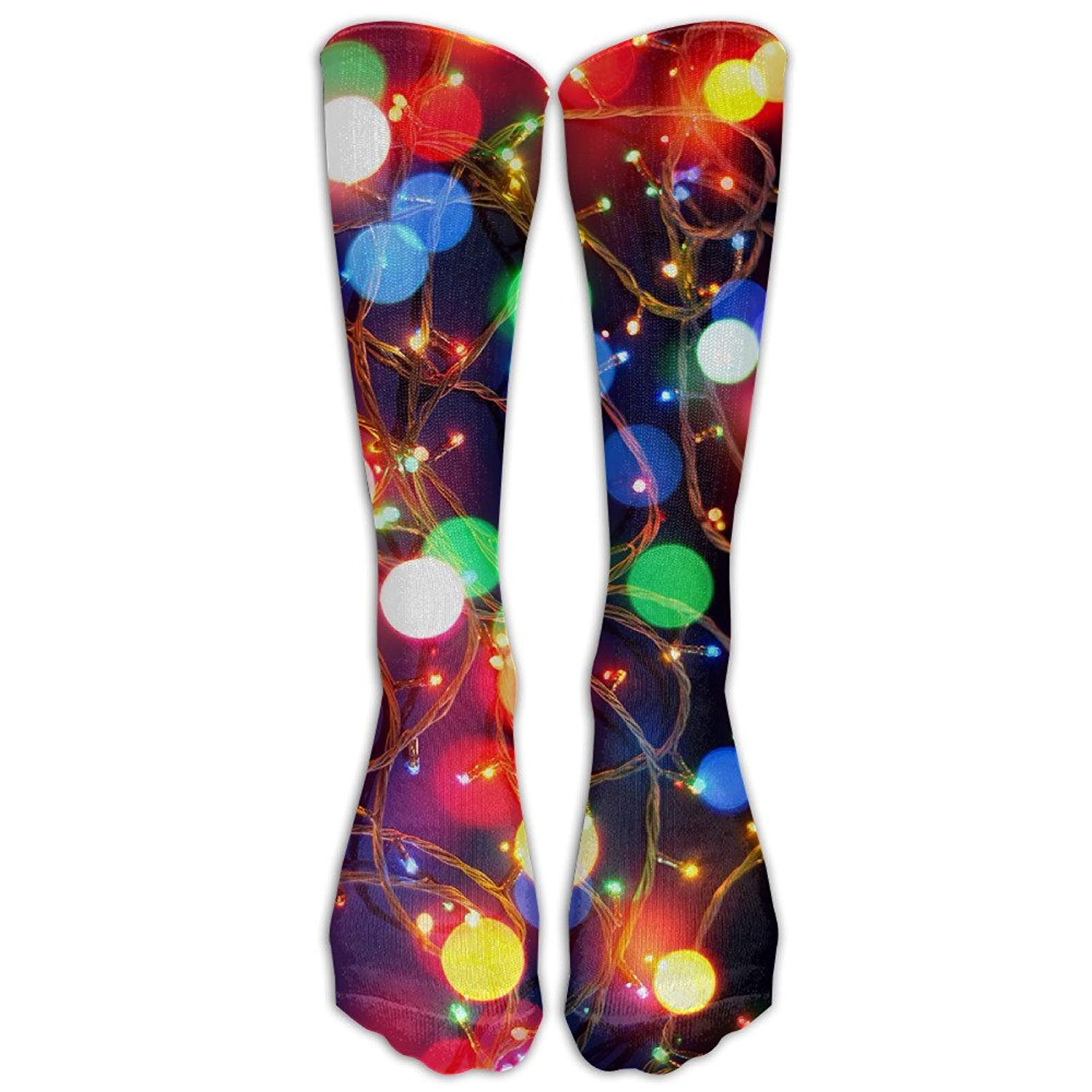 Christmas Lights Unisex Novelty Below Knee Socks Athletic Tube Stockings One Size shower curtain liner
