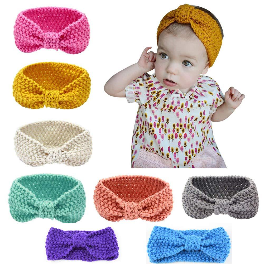 Lot de 8 des bandeaux de la laine de cheveux pour bébés, Lomire serre-tête élastique d'un style du bouton pour les petites filles - accessoires mignons pour bébés ou petites filles, couleur random