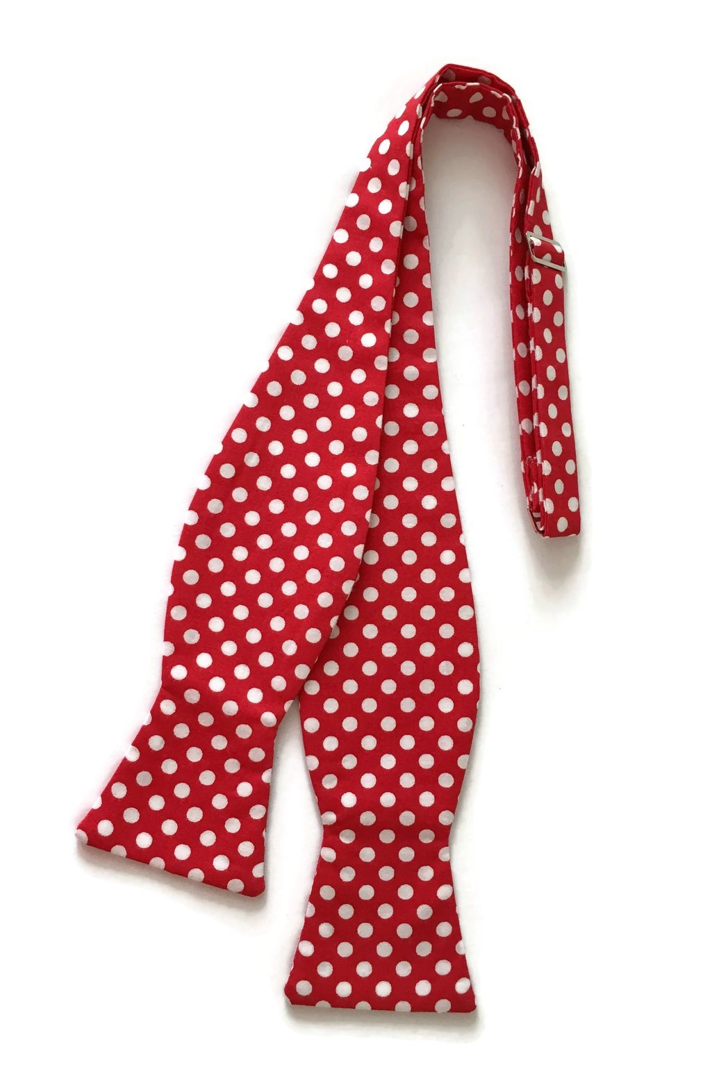 Men's Self-Tie Bow Tie in Red and White Polka Dots (Boys)